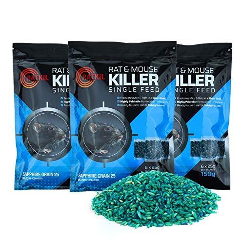 Ratkil Rat Poison (18 x25g) Rat Bait & Mouse Poison Grain - Strongest...