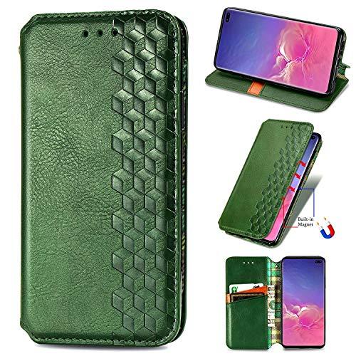 Miagon Samsung Galaxy S9 Mode Hülle,Retro PU Leder Flip Brieftasche Abdeckung Magnetverschluss Folio Ständer Kartensteckplätze Handyhülle,Grün