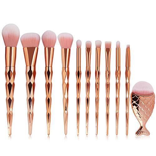 ARTIFUN Ensemble de Pinceaux de Maquillage Diamond Rose Gold Handle Soft Fibe Kit de Pinceau de Maquillage Professionnel 11 Pièces