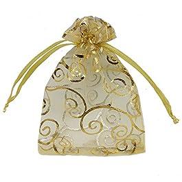Ankirol 100pcs Sheer Organza Sacs à dragées pour Mariage Baby Shower en rotin Impression Cadeau Sacs échantillons écran Cordon de Serrage Poches, Tissu, doré, 3×4