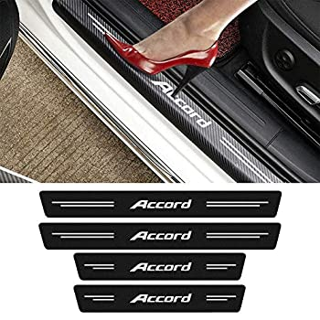 MASHA 4pcs Compatible with Honda Accord Door Entry Guard Decal Sticker Carbon Fiber Front/Rear Scuff Plate Guard,Door Sill Decoration,Welcome Pedal Protector Cover