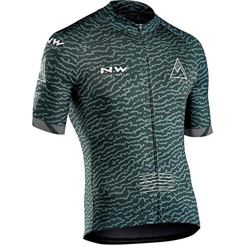 Choue - Maglia da ciclismo a maniche corte da uomo, per mountain bike, con cerniera e tasche riflettenti, G, M