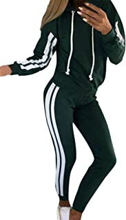 KAIXLIONLY Women's Tracksuits Set Sportswear 2 Piece Sport Jogger Sets Stripe Hoodie + Pants Hooded Sweatshirt Outfit
