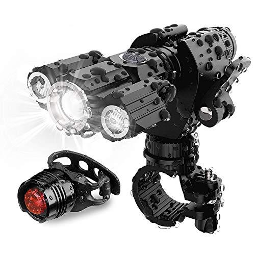 Ultra brillante USB recargable bicicleta luces conjunto, 4 modo de iluminación Super brillante LED tres lámpara linterna impermeable bicicleta accesorios