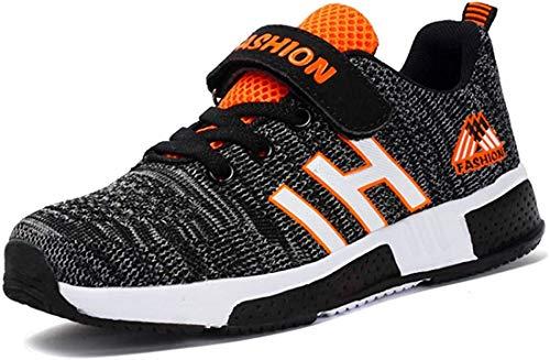 Atmungsaktiv Turnschuhe Jungen Hallenschuhe Kinder Sneaker Mädchen Bequeme Schuhe Outdoor Laufschuhe für Unisex-Kinder 28-37 (36 EUschwarz Grau)