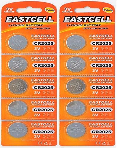EASTCELL 10 x CR2025 3V Lithium Knopfzelle 150 mAh (2 Blistercards a 5 Batterien) EINWEG