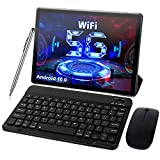 Android 10.0 Tablet 10 Inch 5G Dual WiFi Tablets with Keyboard 4GB RAM 64GB ROM 128GB Expand, Quad-Core 1.6GHz, Bluetooth, 6000mAh, Type-C, Google GMS Certified Tablet PC (Black)