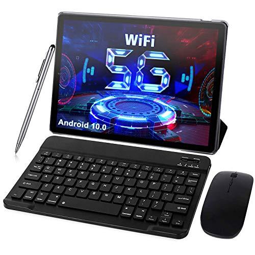 Tablet 10 Pollici 5G WiFi - Android 10.0, 1,6 GHz 4GB RAM + 64GB ROM/128 GB Espandibile Tablets PC- WiFi | Bluetooth | Type-C con Mouse | Tastiera e Altro (Supporta Solo WiFi) (grigio)