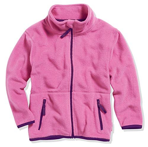 Playshoes Mädchen Fleece farbig abgesetzt Jacke, Pink, 128