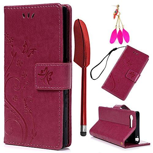 YOKIRIN Sony Xperia X Compact Lederhülle Hülle Hülle für Sony Xperia XCompact Flipcase Tasche Handyhülle Schmetterling PU Leder Schutzhülle Kartenfächer Magnetverschluss Cover Rose Rote