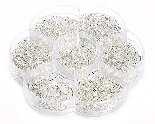 1450 piezas caja conjunto de anillos de salto abierto joyería Kit de joyería Conectores Cadena Enlaces Set para DIY Arcilla Joyería Hacer hendiduras 4-10 mm assorted size plata
