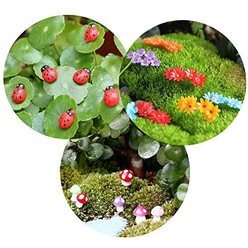 20 Stück gemischte Farben Kunststoff Blumen + 100 Stück rote Marienkäfer + 16 Stück gemischte Farben Größe Pilz Mikrolandschaft Dekorationen Miniatur-Feengarten Puppenhaus DIY Ornamente Dekor