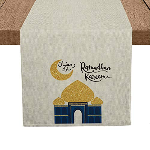 Artoid Mode Ramadan Table Runner, Seasonal Bling Bling Moon and Star Holiday Kitchen Dining Table Runners for Home Party Decor 13 x 72 Inch