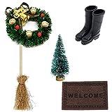 witgift Miniatura casa de muñecas para jardín, muebles, decoración para árbol de Navidad, alfombra, zapatos, escoba, decoración, casa de muñecas