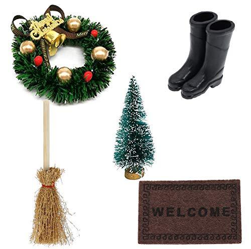 witgift Miniatur Puppenhaus Garten Möbel Deko Mini Weihnachtskranz Weihnachtsbaum Teppichdecke Schuhe Kehrbesen Ornamentschristmas Ornament Fairy Puppenstube