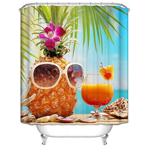 Ukilook - Cortina de ducha de poliéster impermeable con ganchos, piña hawaiana y jugo, cortina de ducha segura, tela de poliéster, lavable a máquina, decoración de baño del hogar