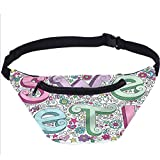 Groovy Fanny Pack Bolsa,Doodle Sweet Text Ornamental Running Travel Sports Bags