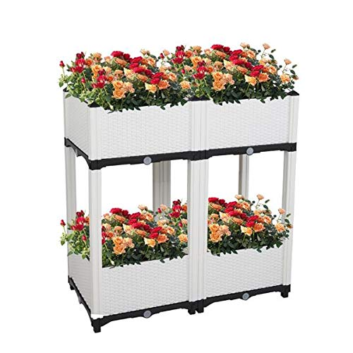 H-ENY 4Pcs Splicing Injection Planting Box, Raised Planter Box with Legs Outdoor Elevated Garden Bed, for Flowers Vegetables Outdoor Indoor Planting Box Container (White)