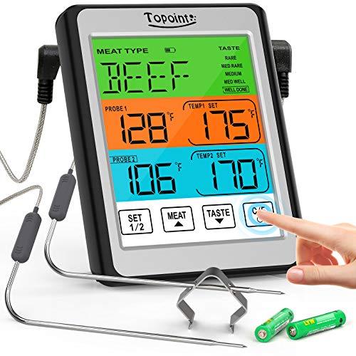 Termómetro digital para carne, termómetro de alimentos de doble sonda con pantalla táctil para cocinar, termómetro de horno con modo de alarma y sonda IPX7 resistente a altas...