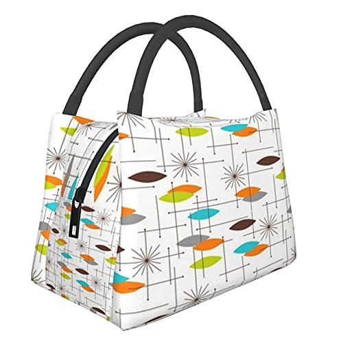 Tragbare isolierte Tasche Thunder_Bird Pink M_i_dcentury Modern ATO_mic Star _Burst Geometrisches Karo Las Vegas Flowe Einkaufstasche für Lebensmittel, faltbar, waschbar, multifunktional