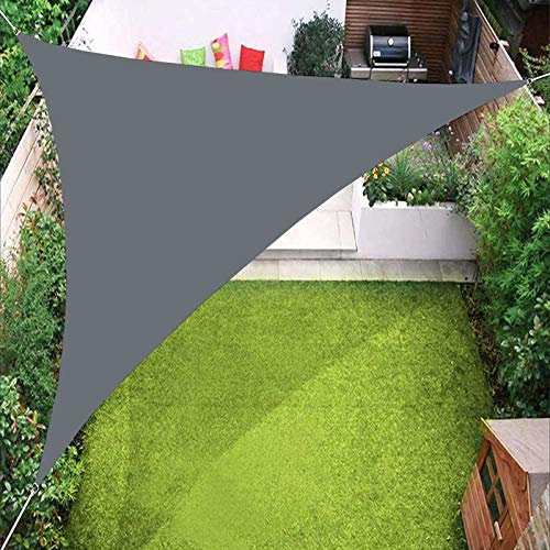 YTQ Velas de Sombra Parasol con Cuerda Triangular Arena UV Resistente Grado Comercial Patio Impermeable Bloque Toldo De Sombra De Sol 5 * 5 * 5 M(Color:Gris Oscuro)