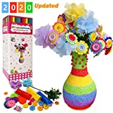 Yileqi Flower Craft Kit for Kids Crafts and Art Set, Fun DIY Kit Party Favors Vase and Button Flowers Crafts...