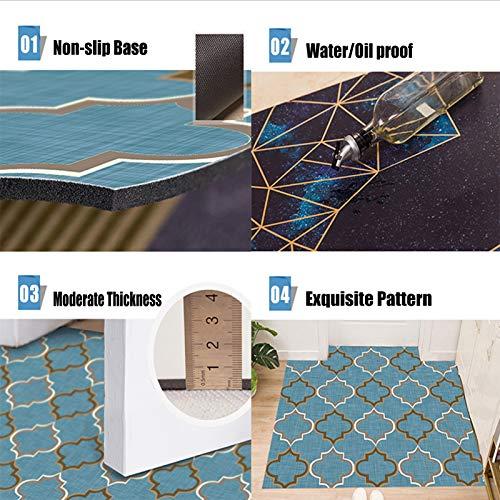 AWSAD Felpudo de Piso 5 Mm Cuero Pesado Almohadilla Antipolvo para Puerta de PVC con el Fin de Fácil de Limpiar Tiempo de Uso Prolongado (Color : Blue, Size : 50cmX80cm)