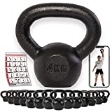 POWRX Pesa Rusa Hierro Fundido 4 kg - Kettlebell con Base Antideslizante + PDF Workout (Negro)