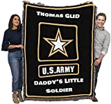 US Army - Star Logo - Personalized - Cotton Woven Blanket Throw - Made in The USA (72x54)