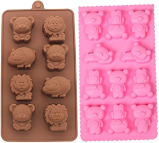 2 Packs Silicone Mold, Bear mould and Forest theme Molds for Making Handmade Soap, Chocolate, Soap Candles and Jelly-Brown