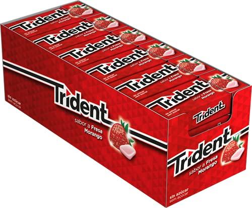 Trident Fresh Gragea Fresa- Chicles sin Azúcar con Sabor a Fresa - Paquete de 24 Envases de 14,5 g