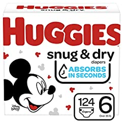 Huggies Snug & Dry diapers size 6 fit babies 35+ lb. (16+ kg) Up to 12 Hours of Day or Night Protection – Huggies trusted Leak Lock System helps prevent leaks for up to 12 hours, day or night Absorbs in Seconds – Huggies Snug & Dry absorbs wetness in...