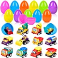 Semaco Easter Eggs Easter Basket Stuffers Filled 12 Pack Eggs with Pull Back Construction Vehicles and Race Cars Inside, Colorful Pre Easter Eggs For Kids Easter Basket Gifts Fillers