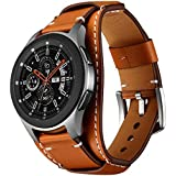 Balerion Cuff Genuine Leather Watch Band,Compatible with Samsung Galaxy Watch 46mm,Gear S3,Fossil Q Explorist/Q Marshal Gen 2 and Other Standard 22mm Band Width Watch,Brown