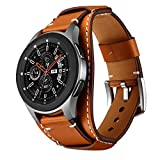 Balerion Cuff Genuine Leather Watch band,Compatible with Samsung Galaxy Watch 3 45mm, Galaxy Watch 46mm,Gear S3 ,Fossil Q Explorist,other Standard 22mm Lug Width Watch,Brown