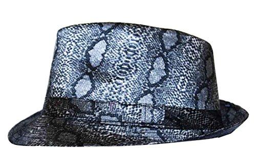 Imprimé peau de serpent Trilby Fedora Chapeau en noir et gris - Gris - X-Large