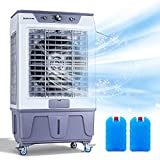 DUOLANG Portable Evaporative Cooler Energy-Saving for Indoor and Outdoor, Quiet Electric Air Cooler,w/Filter, 4 Wheels, 4000 CFM,Cools 753 Square Feet-13.2 Gallon Water Tank,White/Gray