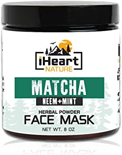 Green Tea Matcha Face Mask (DIY Powder with Organic Neem Mint) Reduces Wrinkles and Pores (Natural Anti-Aging Detoxifying ...