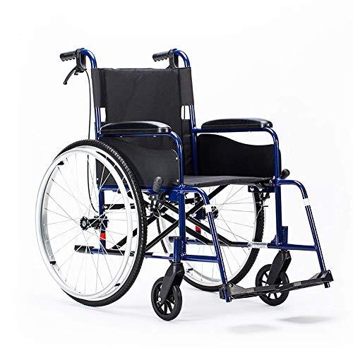 KANJJ-YU Silla de rehabilitación médica, silla de ruedas, sillas de ruedas Lightweight 16Kg portátil plegable Silla médica cómodo reposabrazos respaldo del asiento 100Kg de carga de apoyo 46 * 41cm Se