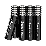BONAI Rechargeable AA Batteries 2600 mAh High Capacity 1.2V NiMh AA Rechargeable Batteries,Reliable Power & Low Self Discharge (Pack of 20)