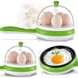 Kriya Compact and Versatile Egg Boiler + Non-Stick Electric Frying Pan for Omelettes