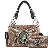 Justin West Horse Western Floral Damask Embroidery Studs Stars Concealed Carry Handbag Purse (Tan Handbag Wallet Set)