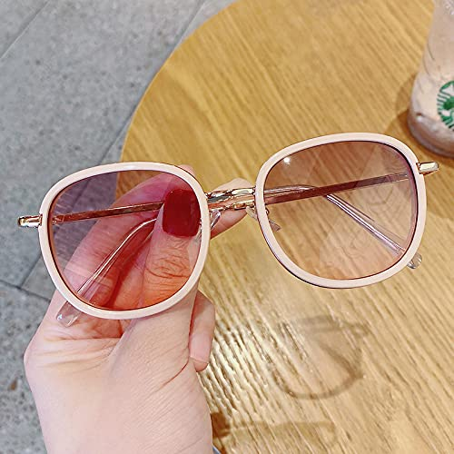 Gafas De Sol Gafas De Sol Clásicas Moda para Niños Gafas De Sol Coloridas con Espejo Marco De Metal Gafas para Exteriores para Niñas Rosa-A