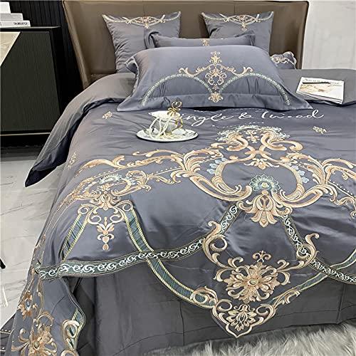 Bedding-LZ BettwäSche 4 Teilig 135x200 Winter,Set Baumwoll-Vierteiliges Sommerbett Einzelne Stickerei-FrüHlings- Und Herbst-BettwäSche-W_2,0m Bett (4 StüCk) (220x240cm)