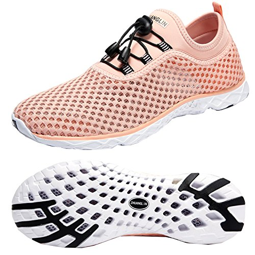 Zhuanglin Women's Quick Drying Aqua Water Shoes,Pinkorange,9 B(M) US