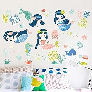 Decals Design 'Girls Baby Cute Little Mermaids with Starfish Under Water Creatures' Wall Sticker (PVC Vinyl, 60 cm x 90 c...