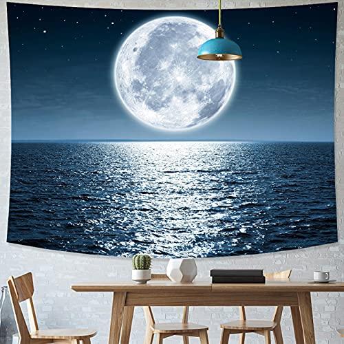 shuimanjinshan Mondlicht Nacht Tapisserie Meerwasser Wandbehang Multifunktionale Tapisserie Bedruckte Tagesdecke Abdeckung Yoga Matte Decke Picknick Stoff 130X150Cm