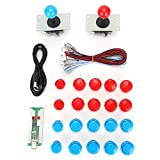 USB Game Set, Professional Made Can Be Connected to Various Devices Fighting Game Accessory Wide Range of Applications for Silky Arcade Experience(Double Suit Blue + red)