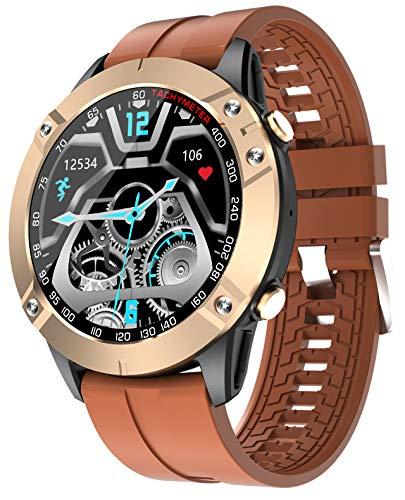XWZ Reloj Inteligente Mujeres Hombres Reloj De Pulsera 1.28 Pulgadas Pantalla Táctil Completa Actividad Redonda Rastreador De Ejercicios Dial Llamada Reloj Impermeable Música,Gold Brown