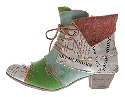 TMA Damen Stiefeletten Echtleder Knöchel Schuhe Leder Boots 6106 Grün Gr. 39